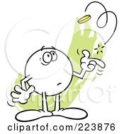 Royalty Free RF Clipart Illustration Of A Nervous Moodie Character Flipping A Coin by Johnny Sajem