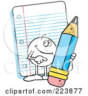 Royalty Free RF Clipart Illustration Of A Friendly Moodie Character Holding A Pencil By Note Paper by Johnny Sajem #COLLC223877-0090