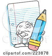 Royalty Free RF Clipart Illustration Of A Sad Moodie Character Holding A Pencil By Note Paper by Johnny Sajem