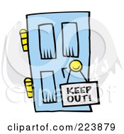 Royalty Free RF Clipart Illustration Of A Keep Out Sign On A Blue Door by Johnny Sajem