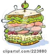 Huge Sstacked Ham Bologne Sandwich