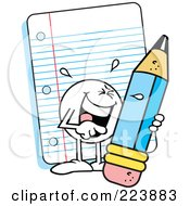 Royalty Free RF Clipart Illustration Of A Funny Moodie Character Holding A Pencil By Note Paper by Johnny Sajem