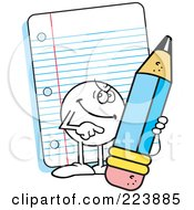 Royalty Free RF Clipart Illustration Of A Wicked Moodie Character Holding A Pencil By Note Paper by Johnny Sajem