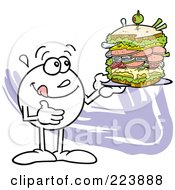 Royalty Free RF Clipart Illustration Of A Hungry Moodie Character Holding A Large Sandwich