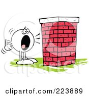 Royalty Free RF Clipart Illustration Of A Moodie Character Screaming At A Brick Wall