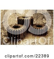Clipart Illustration Of A Group Of Three Spinning Gold Gear Cogs With A Grunge Peeling Paint Texture