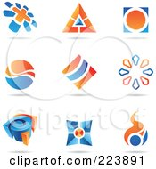 Royalty Free RF Clipart Illustration Of A Digital Collage Of Blue And Orange Icon Or Logo Designs With Shadows 3