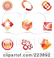 Royalty Free RF Clipart Illustration Of A Digital Collage Of Red And Orange Icon Or Logo Designs With Shadows 2