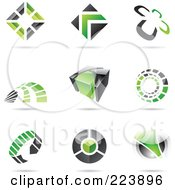 Royalty Free RF Clipart Illustration Of A Digital Collage Of Black And Green Icon Or Logo Designs With Shadows 1