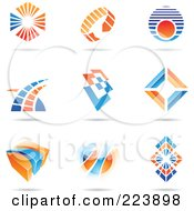 Royalty Free RF Clipart Illustration Of A Digital Collage Of Blue And Orange Icon Or Logo Designs With Shadows 1