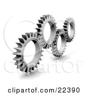Clipart Illustration Of Four Slender Silver Cogs Spinning And Catching In The Rivets