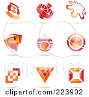 Royalty Free RF Clipart Illustration Of A Digital Collage Of Red And Orange Icon Or Logo Designs With Shadows 1