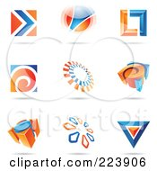Royalty Free RF Clipart Illustration Of A Digital Collage Of Blue And Orange Icon Or Logo Designs With Shadows 2