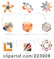 Royalty Free RF Clipart Illustration Of A Digital Collage Of Orange And Black Icon Or Logo Designs With Shadows 1