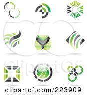 Royalty Free RF Clipart Illustration Of A Digital Collage Of Black And Green Icon Or Logo Designs With Shadows 2