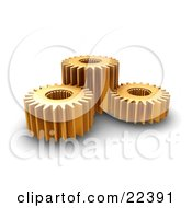 Clipart Illustration Of A Group Of Three Spinning Gold Gear Cogs