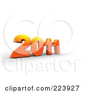 Royalty Free RF Clipart Illustration Of A 3d Orange 2011 On Shaded White by chrisroll
