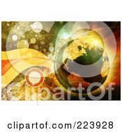 Royalty Free RF Clipart Illustration Of A Transparent Earth Over A Background Of Orbs And Waves