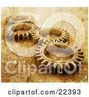 Clipart Illustration Of Four Gold Cogs Lying Down Flat Spinning In Tandem With A Grunge Peeling Paint Texture