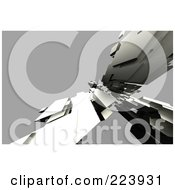 Royalty Free RF Clipart Illustration Of An Abstract Structure Of Metal Over Gray by chrisroll