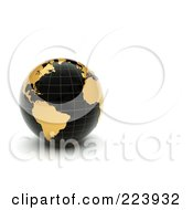 3d Black Grid Globe With Golden Continents