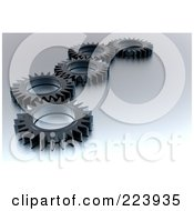 Royalty Free RF Clipart Illustration Of A 3d Black Gear Cog Wheels On A Shaded Background by chrisroll