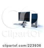 Royalty Free RF Clipart Illustration Of A 3d Modern Desktop Computer Setup On A Shaded White Background by chrisroll