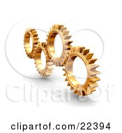 Clipart Illustration Of A Group Of Four Slender Golden Cogs Spinning And Catching In The Rivets by KJ Pargeter