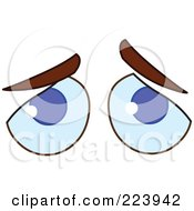 Royalty Free RF Clipart Illustration Of A Pair Of Sad Blue Male Eyes by yayayoyo