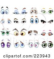 Royalty Free RF Clipart Illustration Of A Digital Collage Of Pleading Flirty And Evil Eyes by yayayoyo