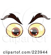 Royalty Free RF Clipart Illustration Of A Pair Of Evil Brown Male Eyes by yayayoyo