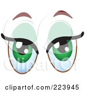 Royalty Free RF Clipart Illustration Of A Pair Of Flirty Green Female Eyes by yayayoyo
