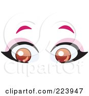 Royalty Free RF Clipart Illustration Of A Pair Of Brown Female Eyes by yayayoyo