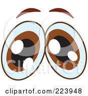 Royalty Free RF Clipart Illustration Of A Pair Of Worried Brown Male Eyes by yayayoyo