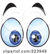 Royalty Free RF Clipart Illustration Of A Pair Of Surprised Blue Male Eyes by yayayoyo