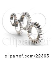 Clipart Illustration Of Four Silver Gears Working In Tandem by KJ Pargeter