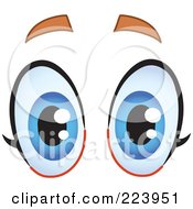 Royalty Free RF Clipart Illustration Of A Pair Of Surprised Blue Female Eyes by yayayoyo