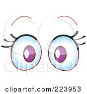 Royalty Free RF Clipart Illustration Of A Pair Of Surprised Purple Eyes by yayayoyo
