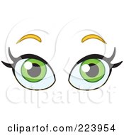 Royalty Free RF Clipart Illustration Of A Pair Of Green Female Eyes by yayayoyo