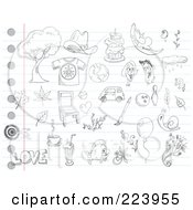 Royalty Free RF Clipart Illustration Of A Digital Collage Of Random Doodles On Ruled Paper 1 by yayayoyo