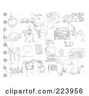Royalty Free RF Clipart Illustration Of A Digital Collage Of Random Doodles On Ruled Paper 2