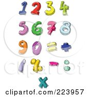 Royalty Free RF Clipart Illustration Of A Digital Collage Of Hand Written And Colored Numbers And Math Symbols by yayayoyo