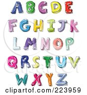 Royalty Free RF Clipart Illustration Of A Digital Collage Of Hand Written And Colored Capital Letters