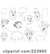 Royalty Free RF Clipart Illustration Of A Digital Collage Of Faces And Word Balloons by yayayoyo