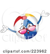 Royalty Free RF Clipart Illustration Of A Friendly Beach Ball Character Holding His Arms Up