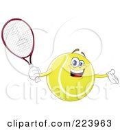 Cheerful Tennis Ball Character Holding A Racket