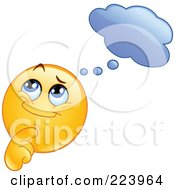 Royalty Free RF Clipart Illustration Of A Yellow Emoticon Pondering Under A Cloud