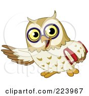 Royalty Free RF Clipart Illustration Of A School Owl Gesturing With One Wing And Carrying A Book by yayayoyo