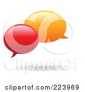Royalty Free RF Clipart Illustration Of Rounded Red And Orange Chat Balloon Windows And Shadows by yayayoyo