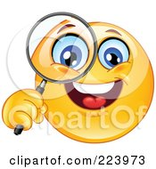Royalty Free RF Clipart Illustration Of A Yellow Emoticon Holding Up A Magnifying Glass